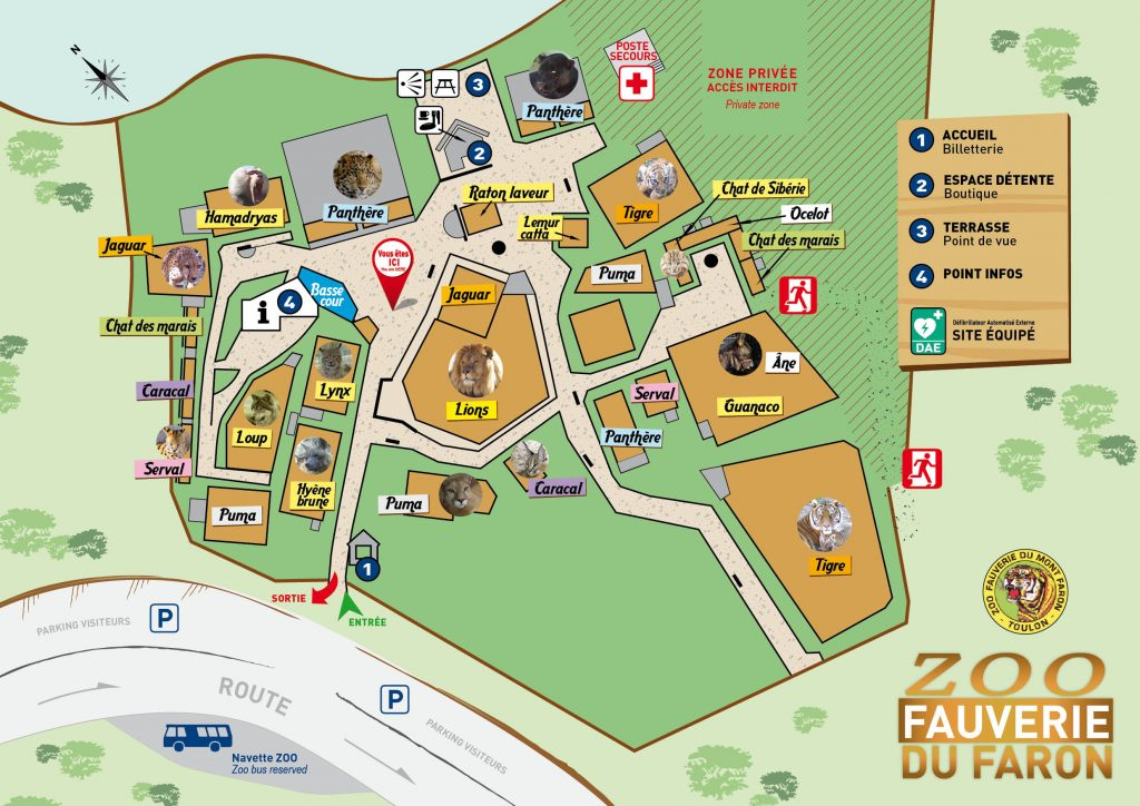 Plan Zoo Fauverie du Faron